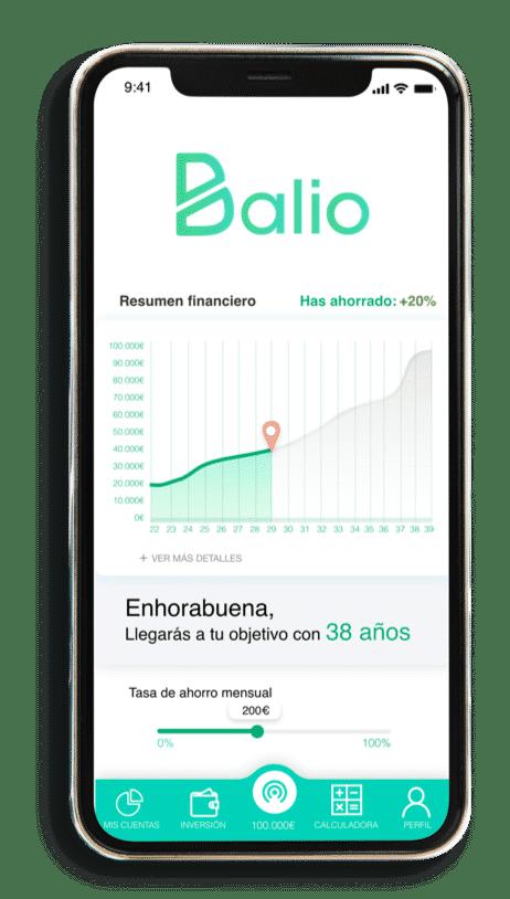 Pantalla de Balio, la mejor app de finanzas personales