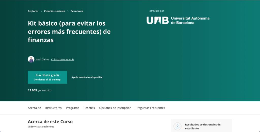 Curso de la Universitat Autónoma de Barcelona en Coursera sobre finanzas domésticas