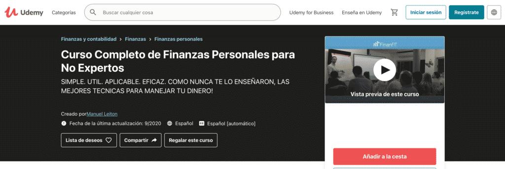 Curso de finanzas personales en Español de Udemy